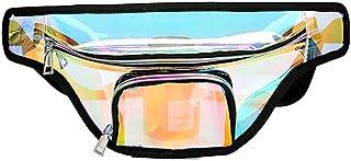 JIAN YA NA Fanny Pack Women Laser Waist Bag Fashion Waterproof Shiny Retro Neon Bum Bag Travel Purse Waist Pouch