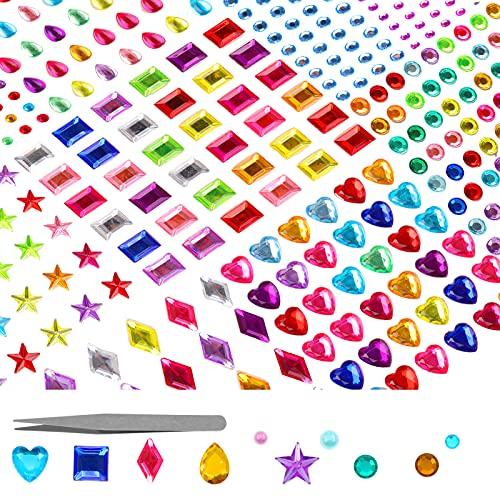 Hoiny Glitzersteine Selbstklebend, 12 Blätter Glitzer Basteln, Bunt Basteln Kinder Selbstklebende Schmucksteine Verschiedene Formen Crystal Edelstein zum Aufkleben