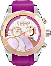 Mulco Gravity iOS Quartz Swiss Chronograph Movement Women's Watch | Mother of Pearl Sundial with Rose Gold and Mother of Pearl Accents | Silicone Watch Band | Water Resistant (Purple)