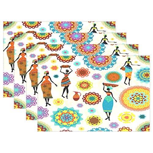 Use7 - Mantel Individual de poliéster con diseño Floral de Mandala para Mujer, 30,5 x 45,7 cm, para Cocina, Comedor, poliéster, Package Quantity: 4