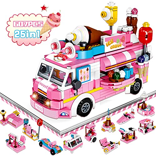 Building Blocks Toys Girl Building Set 25 Model Pink 607 PCS STEM Building Toys Gifts for Age 6 7 8 9 10 11 12 Years Old Kids