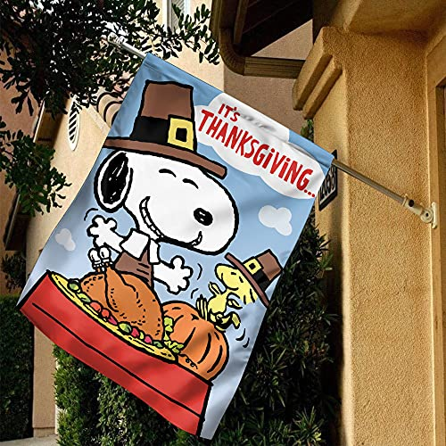 Snoopy Brown Happy Thanksgiving Flag, Snoopy Flag, Thanksgiving Flag House Flag, Garden Flag (Garden Flag 11.5