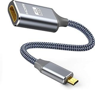 マイクロHDMI - HDMI ケーブル 30cm Micro HDMI to HDMI変換アダプター (マイクロタイプDオス - タイプAメス) 4K @60Hz ハイスピード GoPro/テレビ/デジカメ/ビデオ/アクションカメラなどに対応...