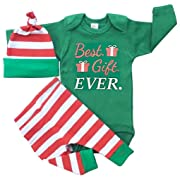 3Pcs Set Newborn Baby Girl Boy Letters Print Top Romper+Stripe Pants+Hat Outfits Size 3-6Months/Tag70 (Green1)