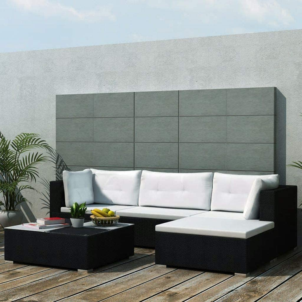 vidaXL Outdoor Sofa Set 14 low-pricing Pieces Garde Black Directly managed store Poly Wicker Rattan
