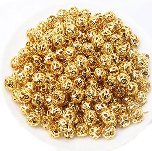 YYAOO 100 cuentas espaciadoras de filigrana espaciador chapado en oro de color redondo hueco de gasa metal latón perlas para hacer collares y pulseras