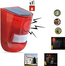 Solar Sound & Light Alarm Motion Sensor 110 Decibels Siren Sound Alert & 6LEDs Flash Warning Strobe Security Alarm System ...