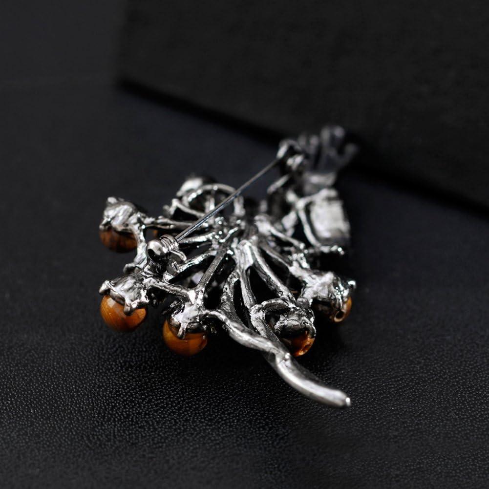 pu ran Round Stone Bead Shiny Rhinestone Flower Bouquet Style Women Brooch Pin Jewelry