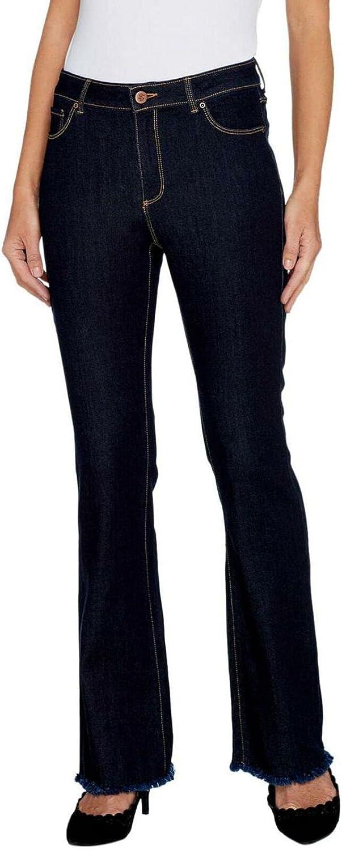 Susan Graver Women's Plus High Stretch Denim Slightly Boot Cut Jeans. A300549