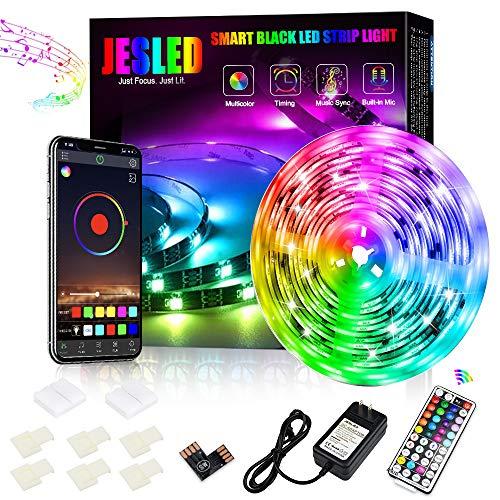 Tiras LED, JESLED Bluetooth Luces LED RGB 5M Sincronización de música, 5050 RGB LED Strips con control remoto, RGB Luz luces LED Negro, para Habitacion, Hogar, Bar, Fiesta, Restaurante