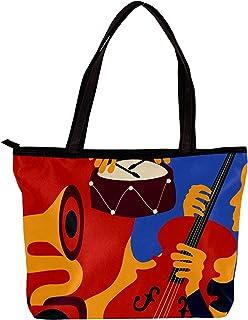 LORVIES - Borsa a tracolla da donna Jazz Instruments di Musica Violoncello, con motivo colorato