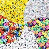 WuikerDuo 500 Unids Abalorios de cara feliz , Mixtas Abalorios de girasol DIY Perlas para Collar Pulsera Joyería Hecha...