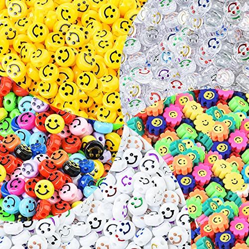 WuikerDuo 500 Unids Abalorios de cara feliz , Mixtas Abalorios de girasol...
