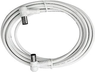 Axing BAK 253 00 Anschlusskabel IEC, Koax Winkelstecker mit Koax Kupplung, hochgeschirmt (2,5 m) weiß