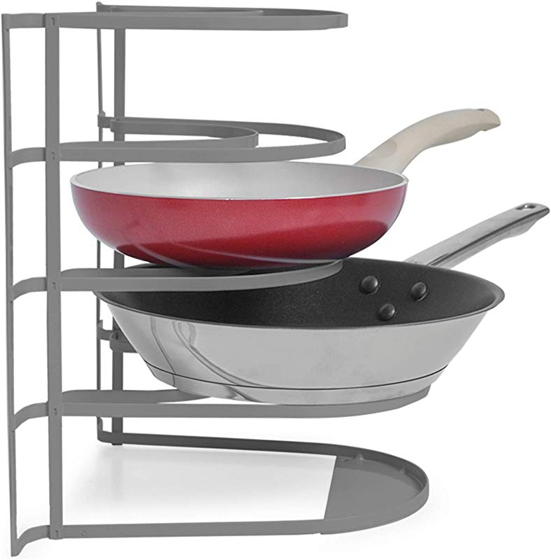 Smart Design Heavy Duty 5 Tier Pan Rack Storage Organizer Holds 4 Pans Steel Metal Frame Rust Resistant Finish Cooking Baking Kitchen Organization 10 X 11 75 Inch Charcoal Gray