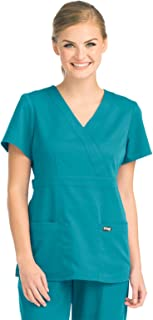 Barco Grey's Anatomy 4153 Women's Mock Wrap Top Teal XL