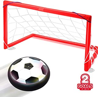 MomoGo Kids Football Toys, Hover Soccer Ball Air Power Disc with 2 Red Gates for Boys and Girls Age of 3,4,5,6,7,8+Years Old Indoor Home Activity, Beautiful Football with Colorful Lights for kids gift
