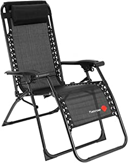 FLAMROSE 【無重力チェア】枕付きポータブル リビングルーム家具 キャンプ椅子 - 折りたたみ マルチポジションチェア 耐荷重120kg テスリンチェア
