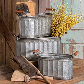 S A Brass Galvanized Tin Basket / Bucket / Planter / Container (Size: Small-33*14*20cm)