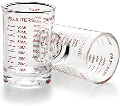 Best 2 Pack Measuring Cup Shot Glass 3 Ounce/90ML Liquid Heavy Glass (2) Review