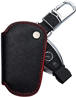 Meichen for Mercedes Benz Key Fob Cover, Key Case Cover Holder for Mercedes Benz C E M S CLS CLK GLK GLC G Class Genuine Leather Cover Protection Smart Remote Keyless Key Fob Shell(Red)