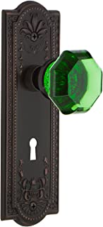 Nostalgic Warehouse 721696 Meadows Plate with Keyhole Passage Waldorf Emerald Door Knob in Timeless Bronze, 2.75