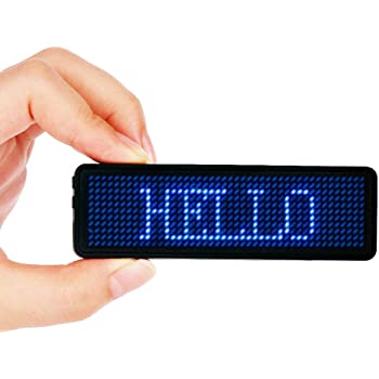 LEDネームプレート VADIV 小型LED電光掲示板 電子名札 日本語 英語など15国語対応 (全角4文字、半角8文字)モードや速度や輝度調節可能 店舗の販促やPOPに最適 青 44×11