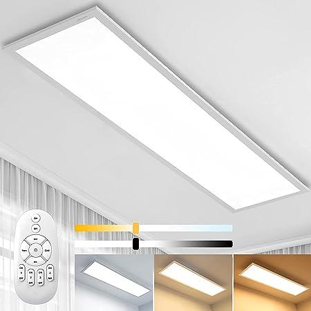 Plafonnier LED Dimmable 100x25cmavec Télécommande, Lumière forte (28W, Blanc Chaud/Naturel/Froid 2700K - 6500K) Lampe de Plafond pour Bureau, Chambre, Cuisine, Salon