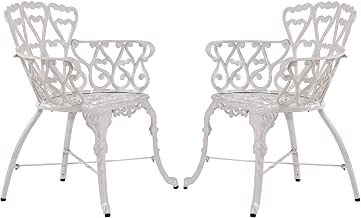 Antique Victorian Cast Aluminum Patio Dining Chairs - Outdoor Set of 2