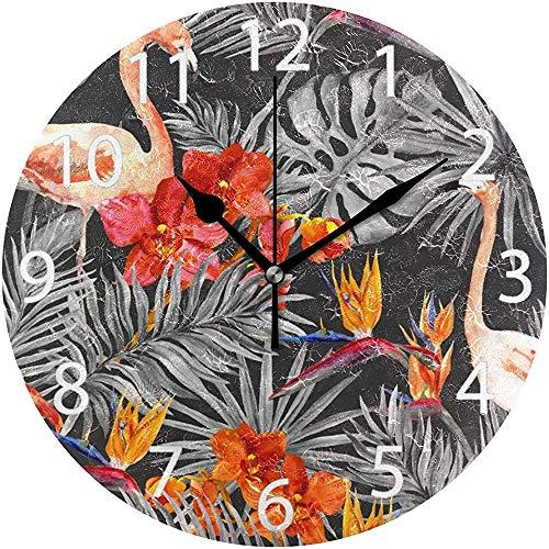 L.Fenn Flamingo Ronde wandklok, met tropisch bladeren, niet te tikken olieverf, decoratief voor thuis, kantoor, school, clock art