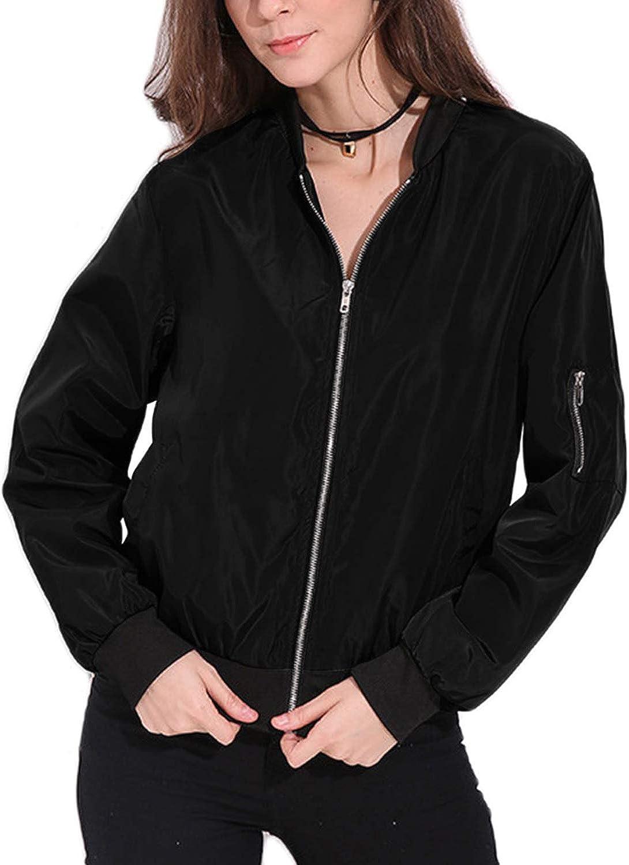 Celmia Vintage Long Sleeve Solid Zip Up Side Pockets Classic Padded Bomber Jacket Biker Coat