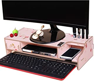High Quality Monitor Wooden Stand Computer Desk Organizer with Keyboard Mouse Storage Slots (Color : Flower)
