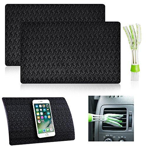 2 Pcs Car Dashboard Premium Anti-Slip Gel Mat with Mini Duster, AFUNTA 11 x 7 Ripple Non-Slip Dash Grip Sticky Pads for Cell Phone Sunglasses Key Coin - Black