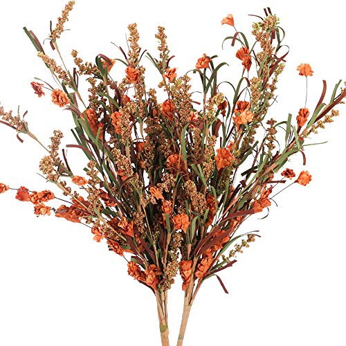 HUAESIN 2pcs Bouquet Flores Artificiales Marron Falsa Ramo Espigas de Trigo Simulacion Flor Artificial Vintage Hecha de Papel para Otoño Decoracion Jarrones Mesa Hogar Boda Fiesta Interior Exterior