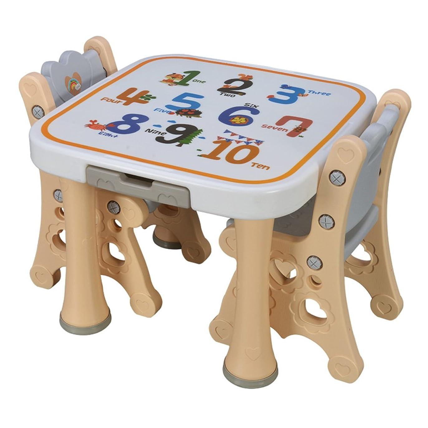 フェミニン恐れ変なDD ソファスツール 子供のテーブルとチェアセットスタディテーブルと椅子おもちゃテーブルゲームテーブルベビー幼稚園小デスクプラスチックディナーテーブル (色 : ベージュ)