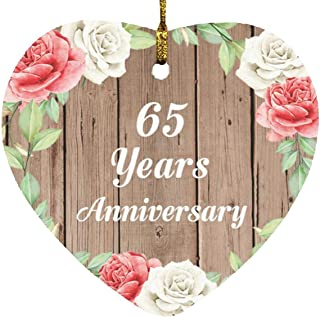 65th Anniversary 65 Years Anniversary - Heart Wood Ornament B Christmas Tree Hanging Decor - for Wife Husband Wo-Men Her H...