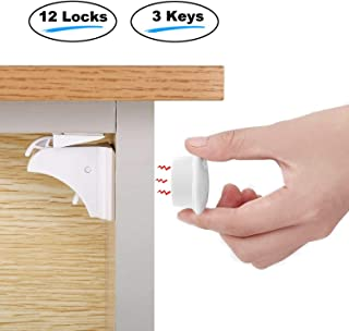 Child Safety Magnetic Cabinet Drawer Locks Baby Proofing Latches 12 Pack with 3 Keys