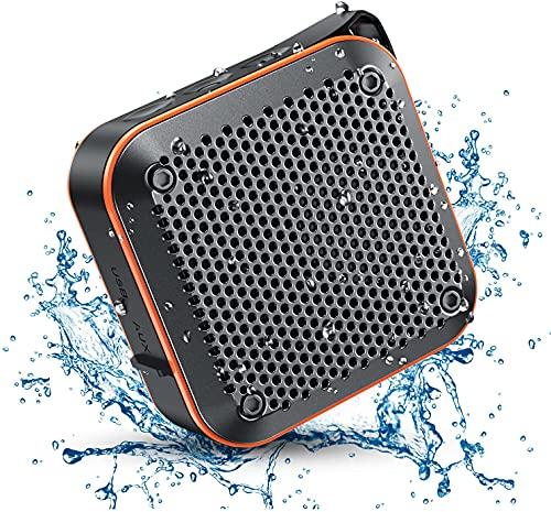 【新版】KIYEDAM IPX7防水Bluetoothスピーカーポータブルワイヤレス、TWSステレオ付きFMラジオシャワースピーカー、TF SD Auxをサポート、バスルームバイクボートバケーションアクセサリー用の金属フック付きミニ小型屋外スピーカー(オレンジ)