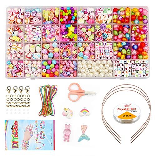 Perline per Braccialetti, 32 Tipi Acrilico Perline Lettera con Filo Elastico, Perline per Braccialetti Bambini, per Fare Gioielli
