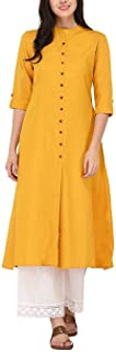 Ladyline Women's Pure Cotton Plain Tunic Top Front Slit 3/4 Sleeves Roll-UP Chinese Neck Buttons Down Pocket Long Kurti Kurta