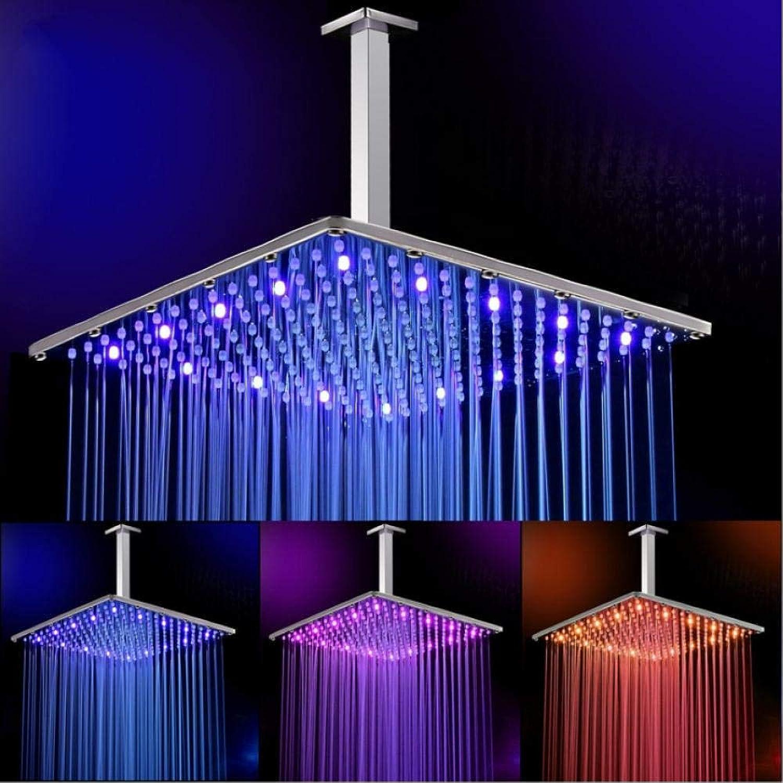 Gorheh 16 Zoll-Regen Führte Duschkopf Mit Decken-Duscharm-Badezimmer 40Cm  40Cm Wasser Powerot3 Farben Geführtem Showerhead
