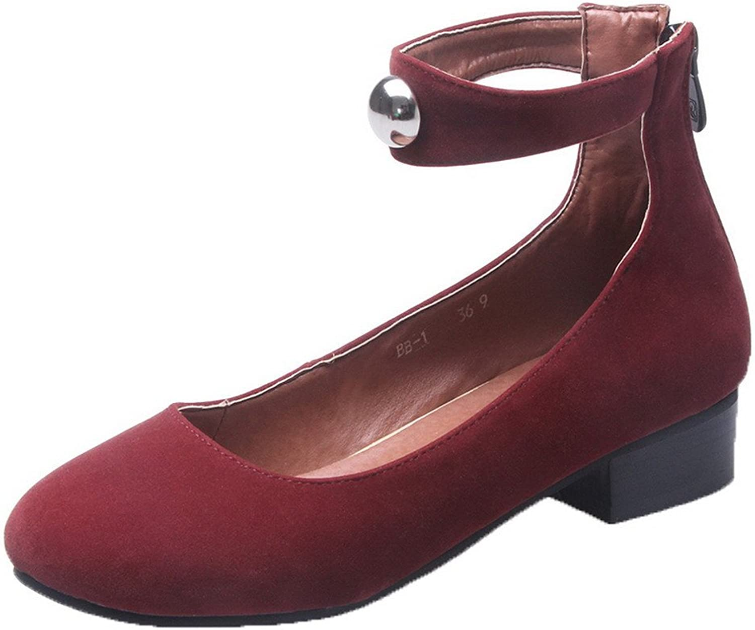 AllhqFashion Women's Frosted Zipper Round-Toe Low-Heels Solid Pumps-shoes