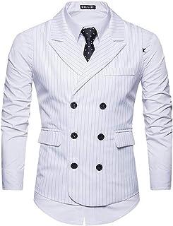MU2M Men Stripe Double Breasted Slim Fit Lapel Suit Vests Waistcoat