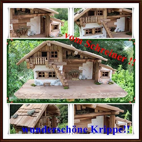 Holzbau Fuchs Weihnachtskrippe- Krippe Krippenstall Weihnachten-Weihnachtskrippe (Krippe W20 ohne Figuren)
