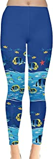 Womens Turtles Dolphins Lobster Crab Whale Fish Penguins Sea Animal Seahorse Jellyfish Shells Leggings, XS-5XL