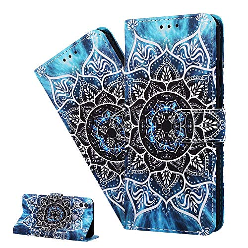LEMAXELERS Galaxy Xcover 5 Custodia Cover Portafoglio,Custodia Samsung Galaxy Xcover 5 Pittura Colorata Wallet Shock-Absorption Magnetica Supporto Protettiva Bumper Leather Flip Cover,YB Sea Mandala