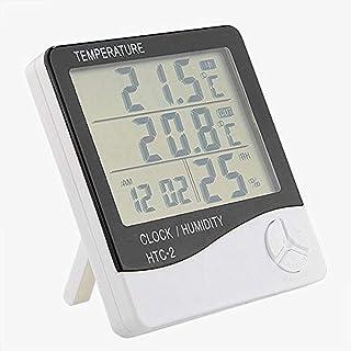 Wall Hanging Digital LCD Thermometer Hygrometer Temperature Humidity Meter Gauge Alarm Clock