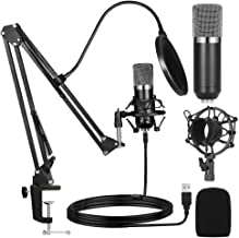 Ankuka USB Streaming Podcast PC Microphone, Professional Studio Cardioid Condenser Mic Kit with Sound Card Boom Arm Shock ...