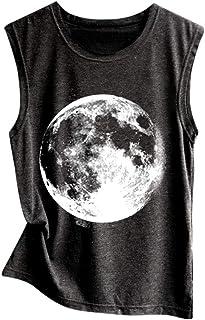 50e18c0b2 TWinmar Vest Top Women's Print Blouse Casual Sleeveless Sport Vest Loose  Tunic Camisole Pullover Beachwear