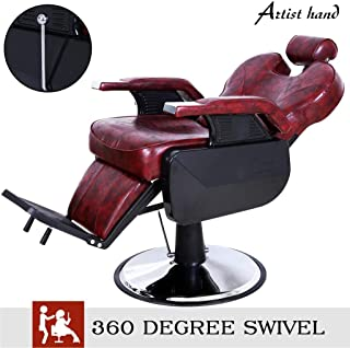 Artist Hand Barber Chair Hydraulic Recline Barber Chairs Salon Chair for Hair Stylist Tattoo Chair Heavy Duty Barber Salon Equipment (Burgundy)